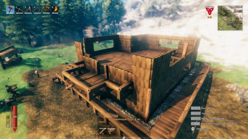 Начало постройки в игре Valheim