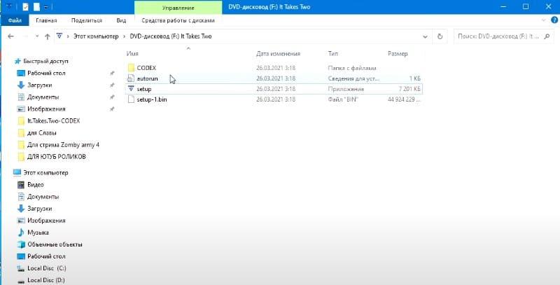 Папка CODEX с файлами
