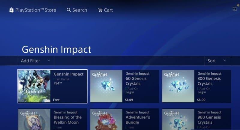 Genshin Impact в магазине PlayStation