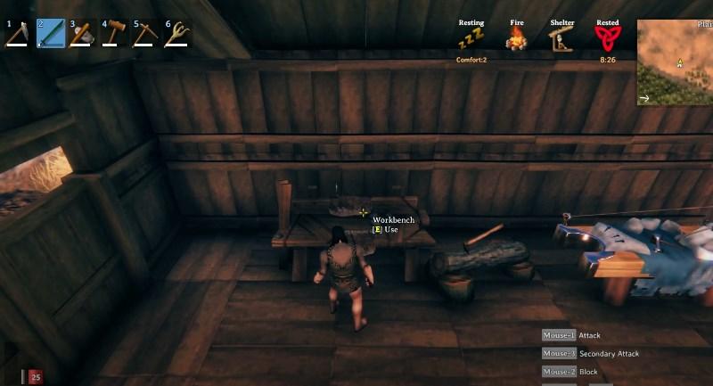 Использование верстака в игре Valheim