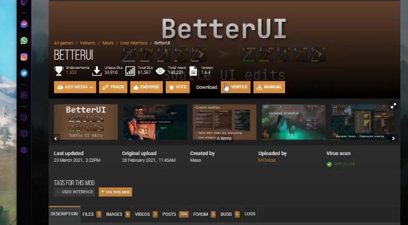 Улучшенный интерфейс Better UI для Valheim