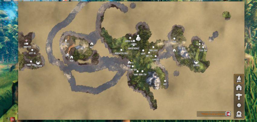 Valheim как узнать какие либо координаты на карте