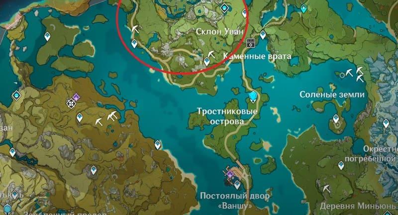 Карта сбора лазурита Кор для возвышения