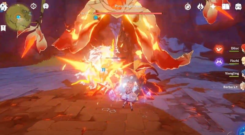Сражение с Pyro Regisvine для получения Семян Вечного пламени