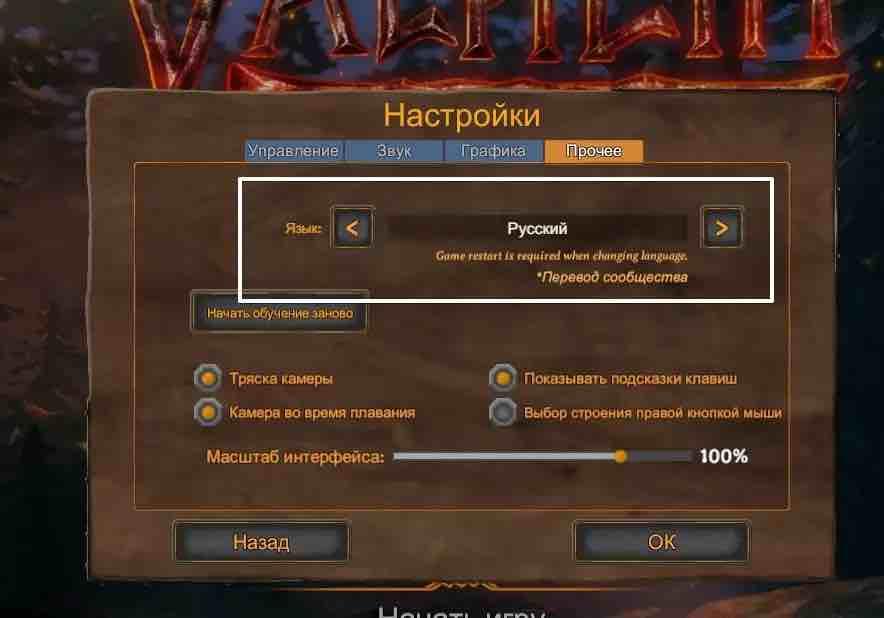 Русский язык в игре Valheim